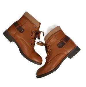 Via Pinky Womens Brown Lace Up BOHO Boots 9